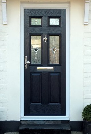 Six Panel Composite Door Black with glass