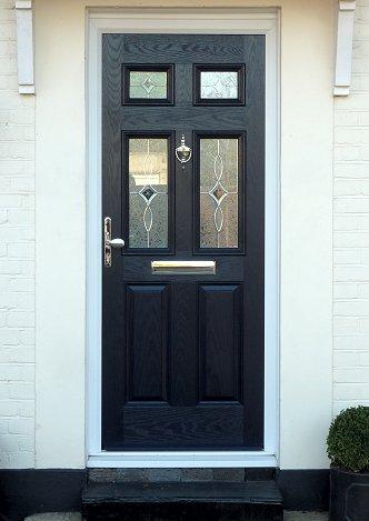 Six Panel Composite Door Black with glass